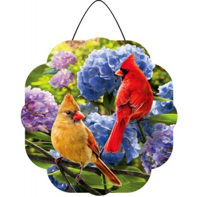 Hang Aound  Cardinals in Hydrangeas-Hang Around