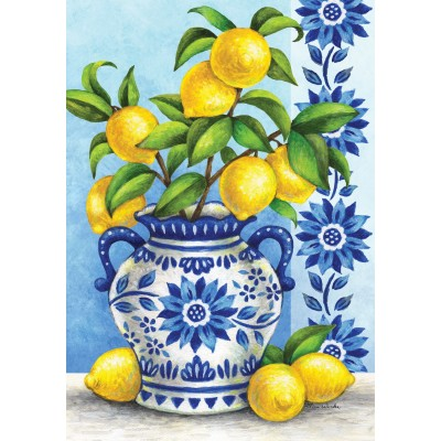 Blue Willow & Lemons-Fine Art Flag by Tina Wenke