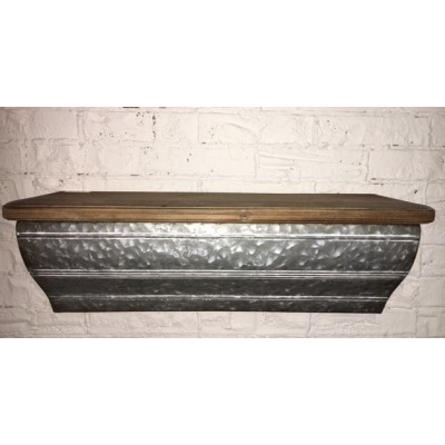 Shelf/ Metal Galvanized/Wood 56,5x18x17,5cm
