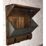 Tablette de Métal Galvanisé et Bois  avec Pochette 28x10x28hcm