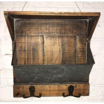 Shelf with Boxe / Metal Galvanized/Wood 28x10x28hcm