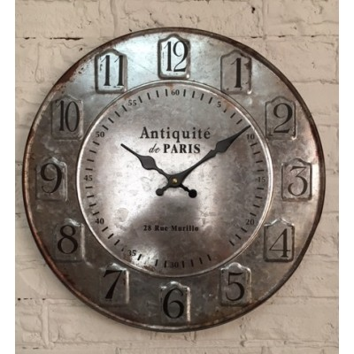 Galvanized Metal  Wall Clock  Antiquité de Paris  /40x5,5x40cm