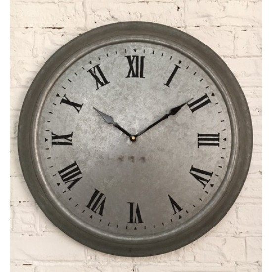 Galvanized Metal  Wall Clock  /47x9x48