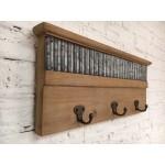 Wood Plaque with Metal Hook 46,5x4,5x19cm