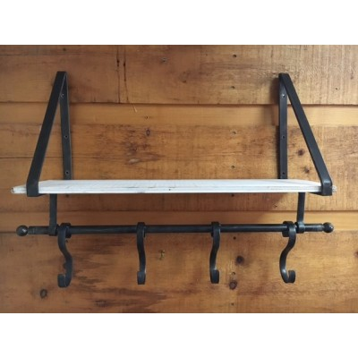 Shelf with Hook / Metal /Wood Shabby White  60x19x49,5hcm
