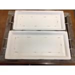 Ensemble de 2 plateau rectangulaire de metal  Blanc Shabby/L71x29,5x75cm / S65,5x25,5x7cm