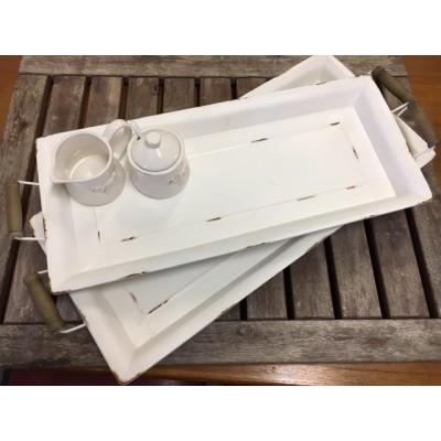 Set/2Metal rectangular tray Shabby White/L71x29,5x75cm / S65,5x25,5x7cm