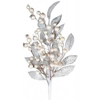 "20"" artificial pearl berries & leaves pick"
