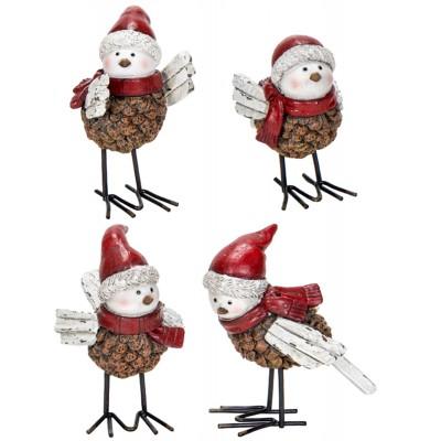 """3.75x2.25x3.75""""h/ Pomme de pin oiseaux avec chapeau en résine 4assortie"""