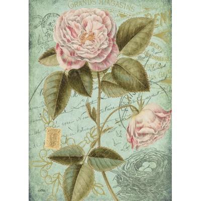 Linge à Vaisselle  100 % Cotton Carte Postale Roses