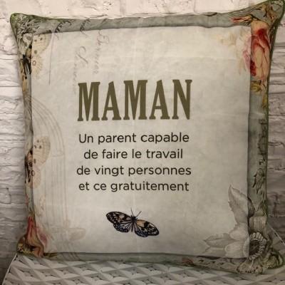 Coussin fait de polyester pour l'intérieur ou l'extérieur / Maman une personne capable