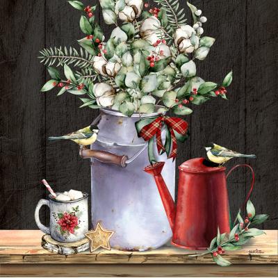 Coussin Bouquet champêtre d'hiver  / Nouveauté-hiver -Pre-booking 2021-22