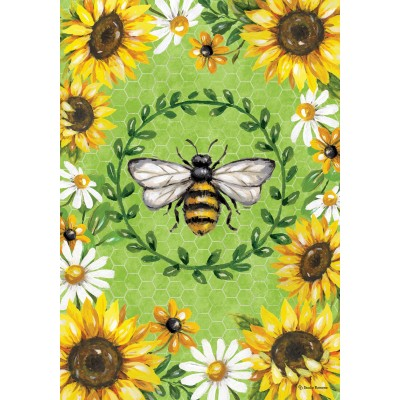 Bumblebees & Sunflowers-Fine Art Flag-by Studio Ramona