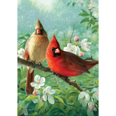 Cardinal Blossoms-Fine Art Flag-by Joseph Hautmann