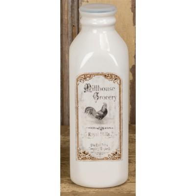 """3.25x3.25x10""""h bouteille de lait dolomite avec décalque de coq/ Diponible fin Mars 2020"""