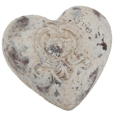 """5x5x2.25""""h ceramic antique white heart w/rose / AVAILABLE end of Marsh 20202"""