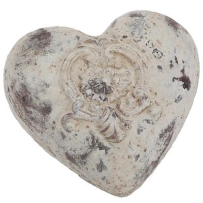 """6.5x6.5x2.5""""h  Coeur en céramique antique blanc avec rose'/ / Diponible fin Mars 2020"""