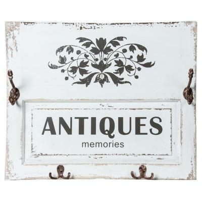 """24.25X4.5X20""""H /Plaque de Bois De Style Vintage Avec 2 Crochets"""