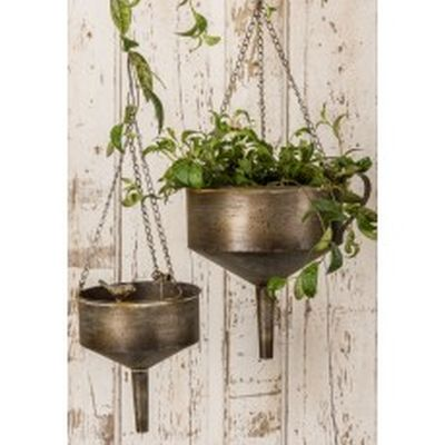 "12.75X10.5X26.5""H 10X8.25X23.25""H METAL S/2 FUNNEL HANGING PLANTER W/BIRD"