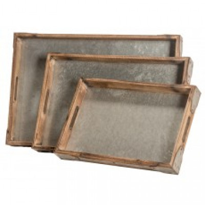 "15.25X10.25-21.25X14.25""H S/3 WOOD/METAL RECTANGULAR TRAY"