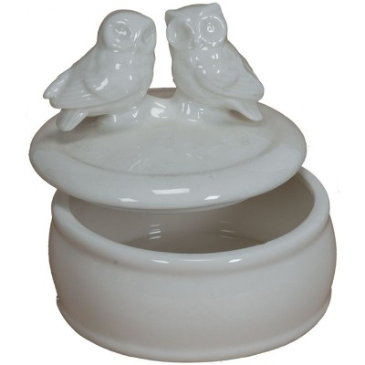 dolomite  box w/two owls