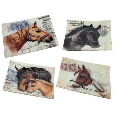 """6x6x0.5""""h glass plate w/w/horse design 4 asst"""