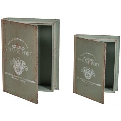 """8X10.25X2.75""""H & 6.75X8.75X2.25""""H Boite Livre en Bois de Style Vintage S/2"""