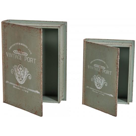 "8X10.25X2.75""H & 6.75X8.75X2.25""H WOOD S/2 VINTAGE PORT BOOK BOX"