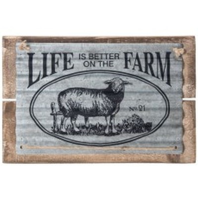 "13.75x1.25x9""h wood/metal life is better on the farm w/sheep wall plaque"