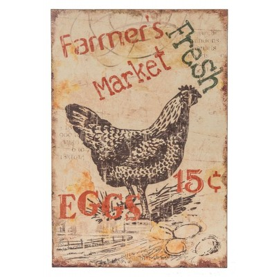 "Plaque de Bois /12.25x2x18.25""h wood farmer's fresh market rooster wall art"