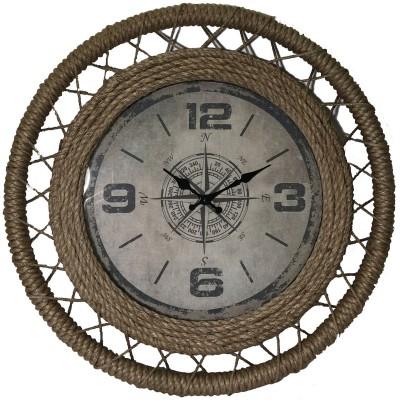 """23.5""""diax 2.5"""" wood/jute framed compass wall clock"""