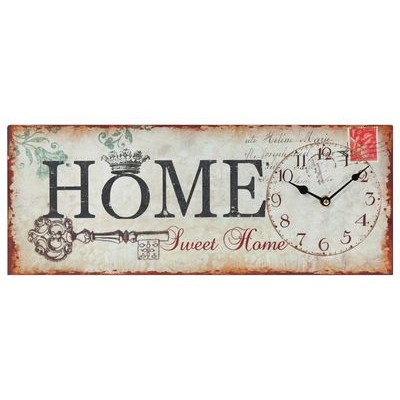 "19.75x7.75""h metal home sweet home sign wall clock"