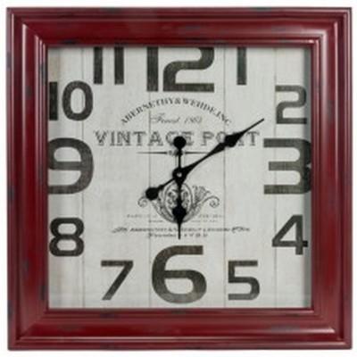 """Horloge deContour de  métal Rouge 23.5x3.5x23.5""""h"""