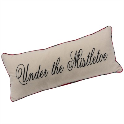 "Coussin  24x10""h En Tissus Avec Bordure Carrelé - under the mistletoe pillow w/plaid trim"