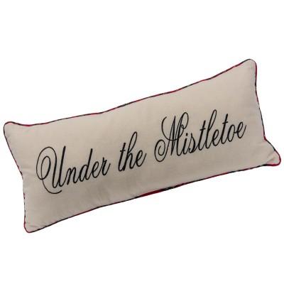 "Pillow 24x10""h fabric under the mistletoe pillow w/plaid trim"