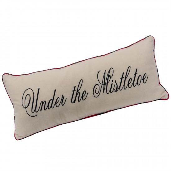 """Coussin  24x10""""h En Tissus Avec Bordure Carrelé - under the mistletoe pillow w/plaid trim"""