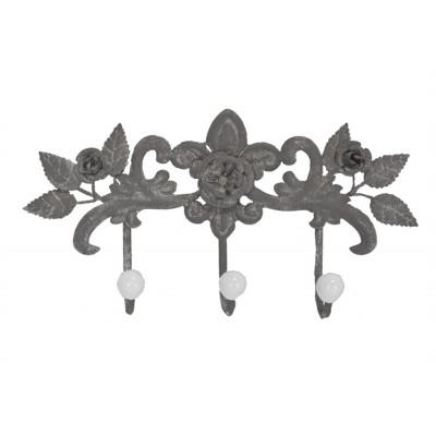 """Crochet /12.5x2.75x6.5""""h metal gray 3-flower w/3 hooks"""