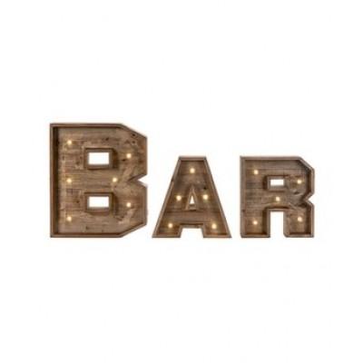 Lettre Bar' LED Et Bois Set/12'' W x 16.5'' H