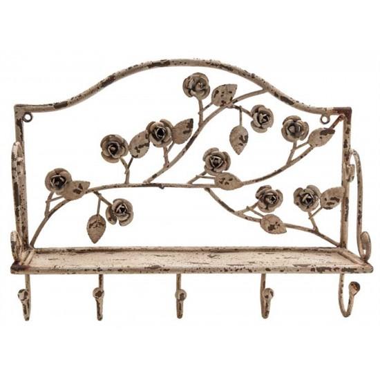 "Tablette en métal /13.75X4.25X10.5""h metal shelf w/roses & hooks antique white"