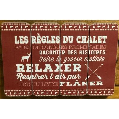 Art mural/ Plaque de Bois Les Règles du chalet / 24x36X1.8 cm