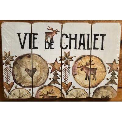 Art mural/ Plaque de Bois Vie de Chalet / 24x36X1.8 cm