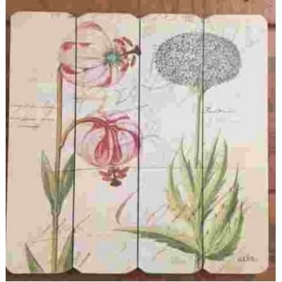 Art mural/ Plaque de Bois/Floral vintage l /40X40X1.8 cm