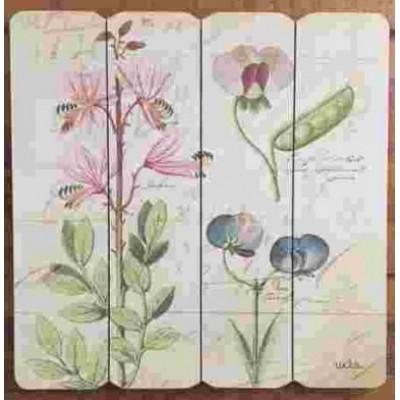 Art mural/ Plaque de Bois/Floral vintage ll  /40X40X1.8 cm