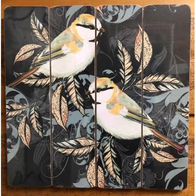 Art mural/ Plaque de Bois/ Les oiseaux  40X40X1.8 cm