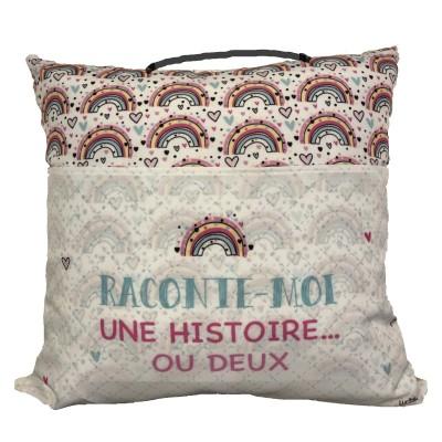 Coussin De lecture Avec Pochette Pour Livres Et Poignée/ Histoire Arc-En-ciel