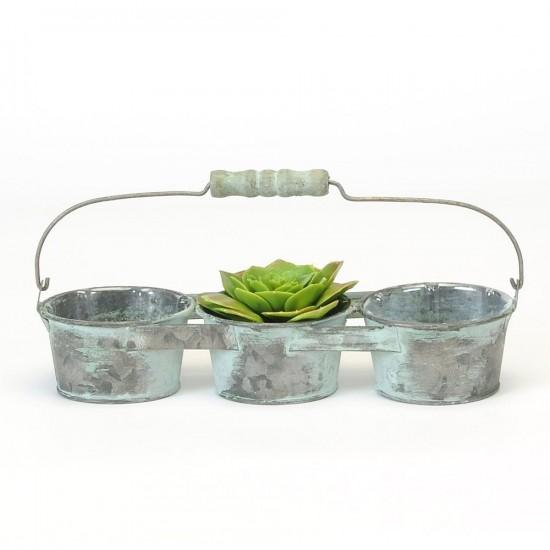3 pots de métal pour succulent  avec poigné et intérieure en pvc /11x 3.5 x2'