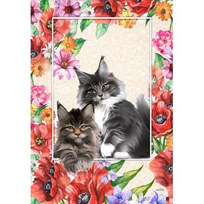 Les chats dans les pavots